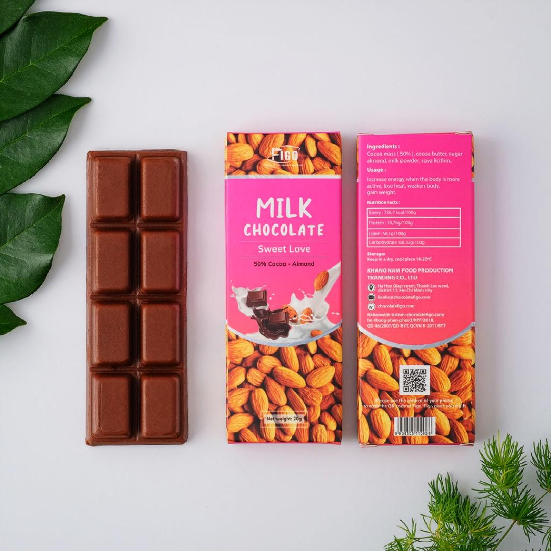 [ ĂN LÀ NGHIỆN] Socola sữa nhân Hạt hạnh nhân 50% cacao FIGO 20g