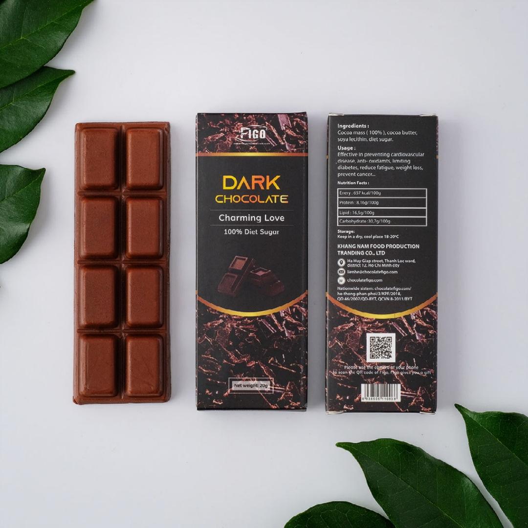 Dark Chocolate 100% có đường ăn kiêng 20g DIET SUGAR FIGO