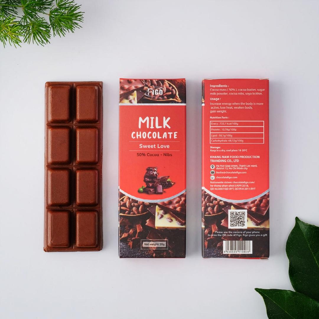 Kẹo Socola sữa 20g Hạt cacao Figo - Đồ ăn vặt sỉ siêu ngon