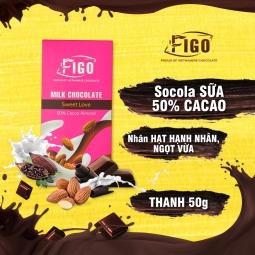 Kẹo Socola sữa Hạnh nhân dòng Sweet love 50g Figo