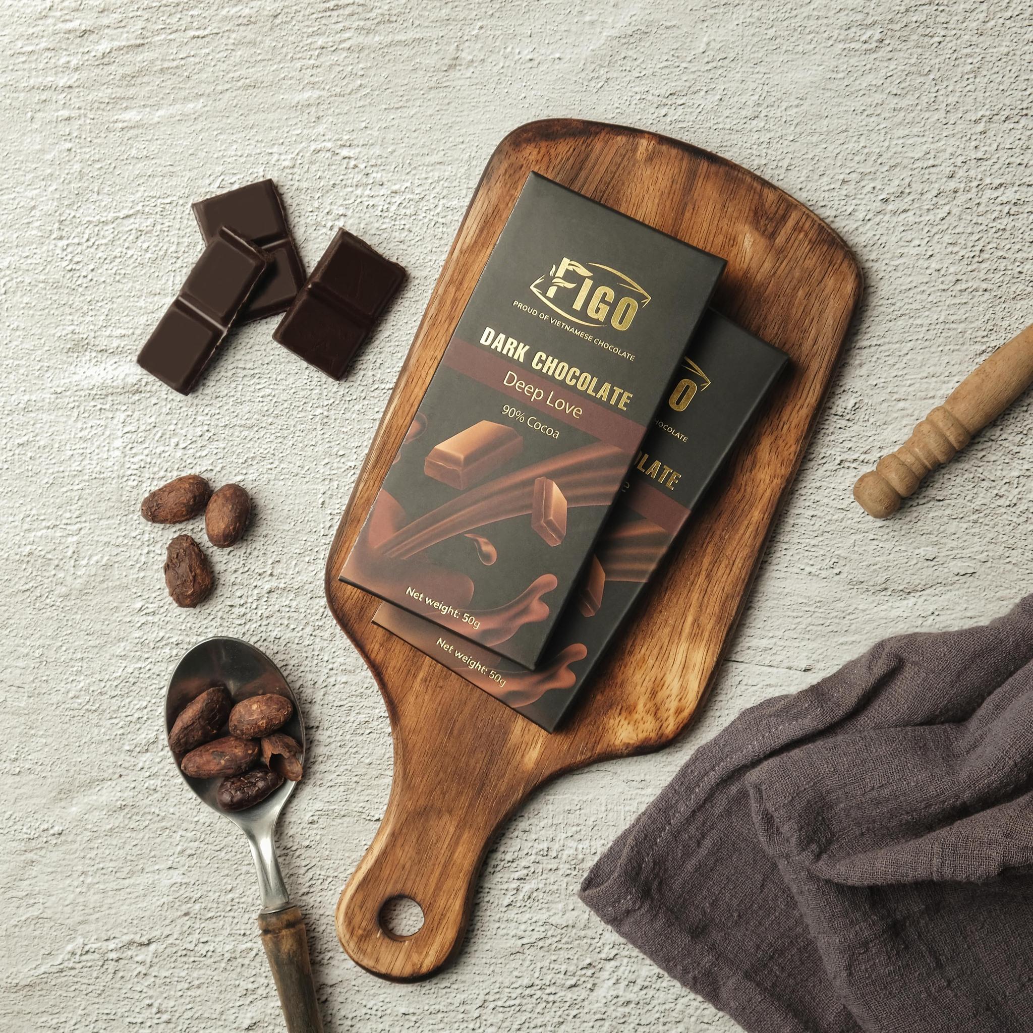 [ TRỢ GIÁ DÙNG THỬ ] Dark Chocolate 90% cacao ít đường 50g, giảm cân, dành cho khách hàng có chế độ keto, das Figo - Dòng Deep Love